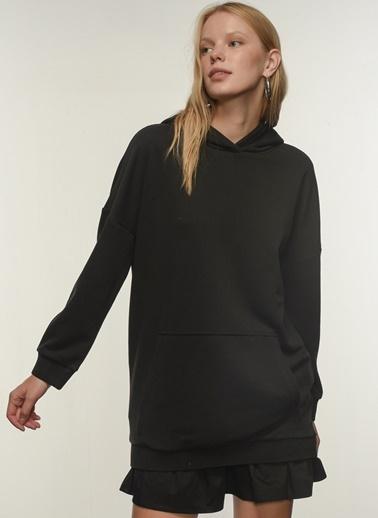 People By Fabrika People By Fabrika Kapişonlu Oversize Kadın Sweatshirt Siyah